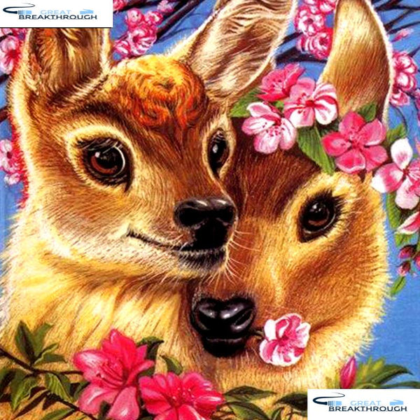 "HOMFUN Full Square/Round Drill 5D DIY Diamond Painting ""Cartoon flower deer"" 3D Embroidery Cross Stitch 5D Decor Gift A16837"