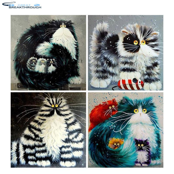 "HOMFUN Full Square/Round Drill 5D DIY Diamond Painting ""Cartoon cat"" 3D Embroidery Cross Stitch 5D Home Decor Gift"