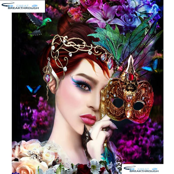 "HOMFUN Full Square/Round Drill 5D DIY Diamond Painting ""Flower beauty mask"" Embroidery Cross Stitch 3D Home Decor Gift A01184"