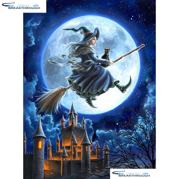 "HOMFUN Art 5D Diy Diamond Painting ""Halloween witch"" Diamond Pictures Cross Stitch 3D Rhinestone Embroidery Decor A01653"