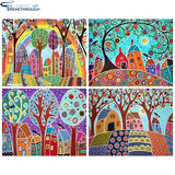 "HOMFUN 5d Diamond Painting Full Square/Round ""Color tree landscape"" Picture Of Rhinestone DIY Diamond Embroidery Home Decor"