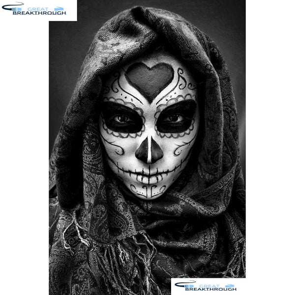 "HOMFUN Full Square/Round Drill 5D DIY Diamond Painting ""Skull girl"" Embroidery Cross Stitch 5D Home Decor Gift A01467"