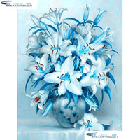 "HOMFUN Full Square/Round Drill 5D DIY Diamond Painting ""Blue flower"" Embroidery Cross Stitch 5D Home Decor Gift A13967"