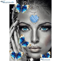 "HOMFUN Full Square/Round Drill 5D DIY Diamond Painting ""Butterfly woman"" 3D Diamond Embroidery Cross Stitch Home Decor A18719"