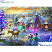 "HOMFUN Full Square/Round Drill 5D DIY Diamond Painting ""Christmas scenery"" Embroidery Cross Stitch 5D Home Decor Gift A16490"