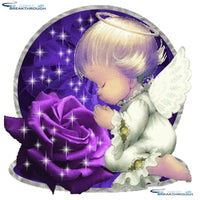 "HOMFUN Full Square/Round Drill 5D DIY Diamond Painting ""Child angel flower"" 3D Diamond Embroidery Cross Stitch Home Decor A27010"