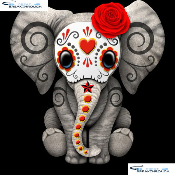 "HOMFUN Full Square/Round Drill 5D DIY Diamond Painting ""Elephant flower"" 3D Embroidery Cross Stitch 5D Home Decor A15271"