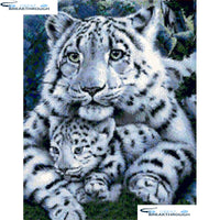 "HOMFUN Full Square/Round Drill 5D DIY Diamond Painting ""Animal tiger"" 3D Embroidery Cross Stitch 5D Home Decor A16132"