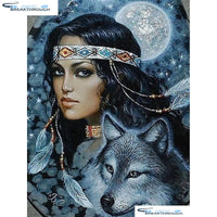 "HOMFUN Full Square/Round Drill 5D DIY Diamond Painting ""Indians & wolf"" Embroidery Cross Stitch 5D Home Decor A01123"