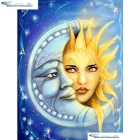 "HOMFUN Full Square/Round Drill 5D DIY Diamond Painting ""Moon & sun"" Embroidery Cross Stitch 5D Home Decor Gift A01396"