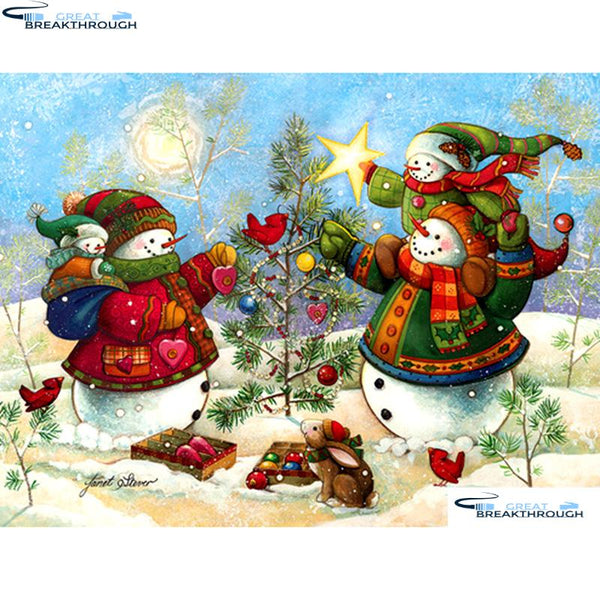 "HOMFUN Full Square/Round Drill 5D DIY Diamond Painting ""Christmas snowman"" Embroidery Cross Stitch 5D Home Decor A14201"
