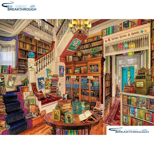 "HOMFUN Full Square/Round Drill 5D DIY Diamond Painting ""Readers Paradise"" 3D Embroidery Cross Stitch 5D Home Decor A00783"