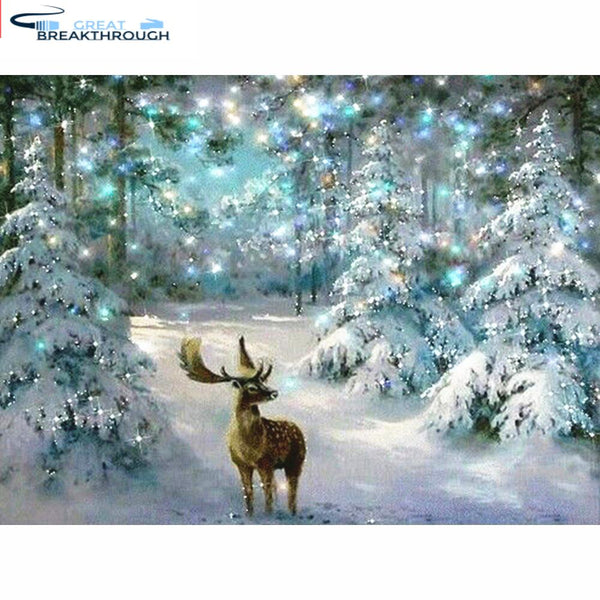 HUACAN 5D DIY Christmas Diamond Painting Deer Diamond Mosaic winter Diamond Embroidery Cross Stitch Home Decor