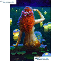 "HOMFUN Full Square/Round Drill 5D DIY Diamond Painting ""Cartoon mermaid"" 3D Embroidery Cross Stitch 5D Home Decor A15076"