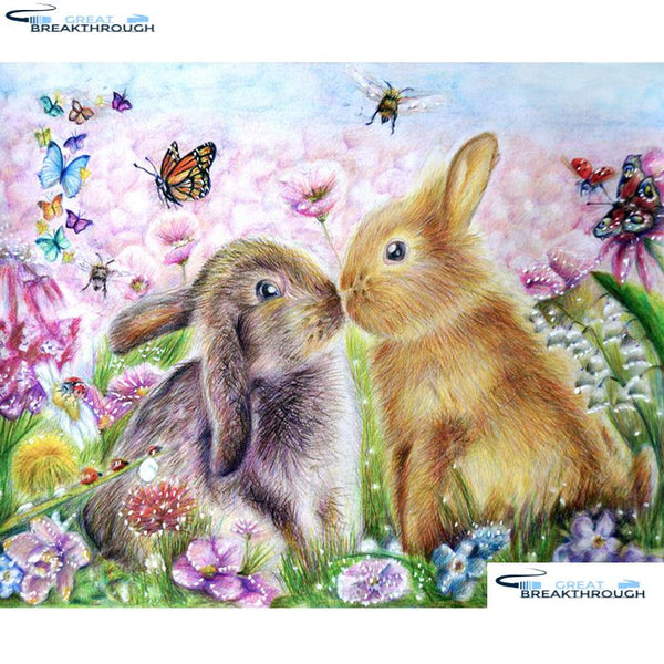 "HOMFUN 5D DIY Full Diamond Embroidery ""Cartoon rabbit"" Diamond Painting Cross Stitch Rhinestone Home Decoration A20026"