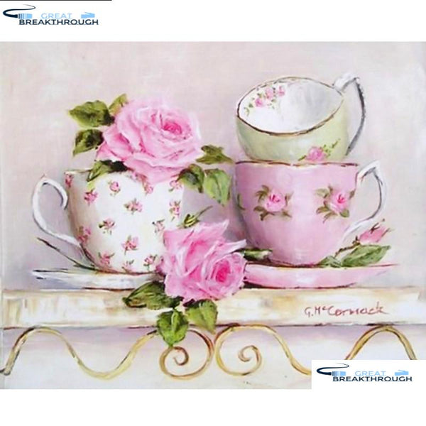 "HOMFUN Full Square/Round Drill 5D DIY Diamond Painting ""Teacup flower"" Embroidery Cross Stitch 5D Home Decor Gift A09531"