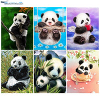 "HOMFUN Diamond Painting Full Square/Round Drill 5D DIY ""Animal panda scenery"" Daimond Embroidery Rhinestone Cross Stitch Decor"