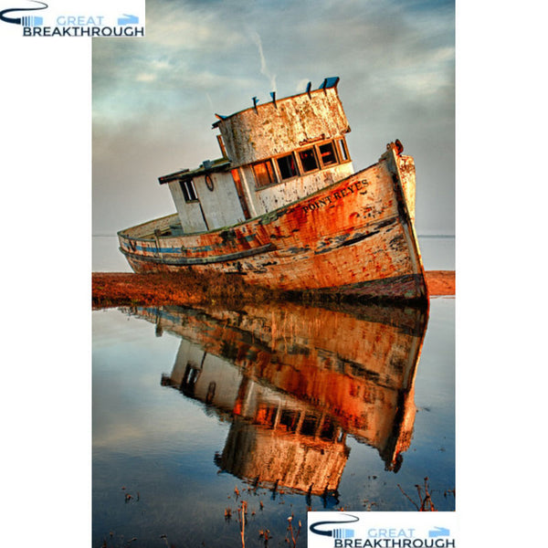 "HOMFUN Full Square/Round Drill 5D DIY Diamond Painting ""Boat scenery"" 3D Embroidery Cross Stitch 5D Home Decor gift A17214"