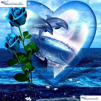 "HOMFUN Full Square/Round Drill 5D DIY Diamond Painting ""Dolphin rose"" 3D Embroidery Cross Stitch 5D Home Decor Gift A00596"