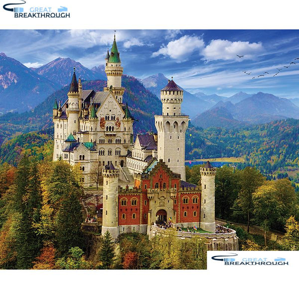 "HOMFUN Full Square/Round Drill 5D DIY Diamond Painting ""Neuschwanstein Castle"" 3D Embroidery Cross Stitch 5D Decor A00776"
