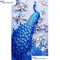 "HOMFUN Full Square/Round Drill 5D DIY Diamond Painting ""Animal peacock"" Embroidery Cross Stitch 5D Home Decor Gift A07701"