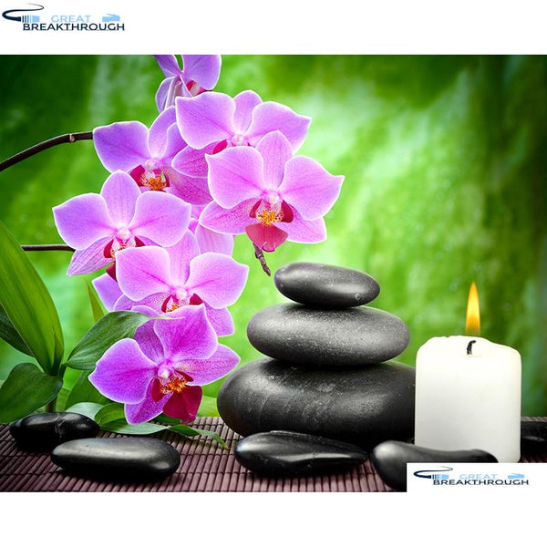 "HOMFUN Full Square/Round Drill 5D DIY Diamond Painting ""Orchid candle stone"" Embroidery Cross Stitch 5D Home Decor A01129"