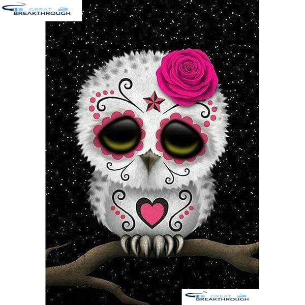 "HOMFUN Full Square/Round Drill 5D DIY Diamond Painting ""Skull owl"" Embroidery Cross Stitch 5D Home Decor Gift A01462"