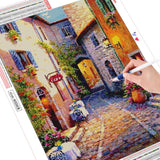 HUACAN Landscape Diamond Painting Full Square House 5D Diamond Embroidery Sale Street Scenery Cross Stitch Home Decoration