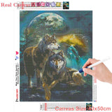 HUACAN Full Square Diamond Painting Wolf Diamond Embroidery Wolves Animals Diamond Mosaic Sale Pictures With Rhinestones