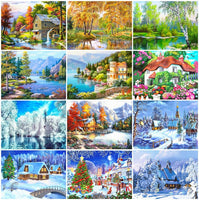 HUACAN Full Square Diamond Painting Winter Cross Stitch 5d Embroidery Sale Scenery Rhinestones Diy Home Decor Gift Needlework