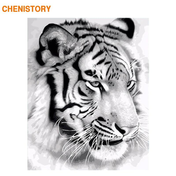 CHENISTORY Frame Tigers Animals DIY Painting By Numbers Black White Calligraphy Painting Acrylic Paint On Canvas For Home Decor