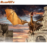 RUOPOTY Frame DIY Painting By Numbers Kit Dinosaur Animals Calligraphy Painting Wall Art Picture Acrylic Paint For Home Decors