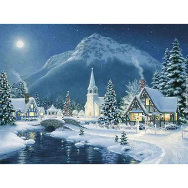 Diamond Painting Winter Landscape DIY 5D Diamond Mosaic Snow Night Handmade Cross Stitch Kits Diamond Embroidery Patterns