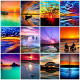 HUACAN Diamond Painting Full Drill Square Landscape 5D DIY Diamond Embroidery Seaside Sunset Picture Of Rhinestone Sunrise