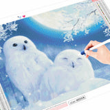 HUACAN Full Drill Square Diamond Painting Landscape Diamond Embroidery Winter Rabbit Owl Picture Of Rhinestone Christmas Decor