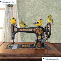"HOMFUN Full Square/Round Drill 5D DIY Diamond Painting ""Sewing machine bird"" 3D Embroidery Cross Stitch 5D Decor A00975"