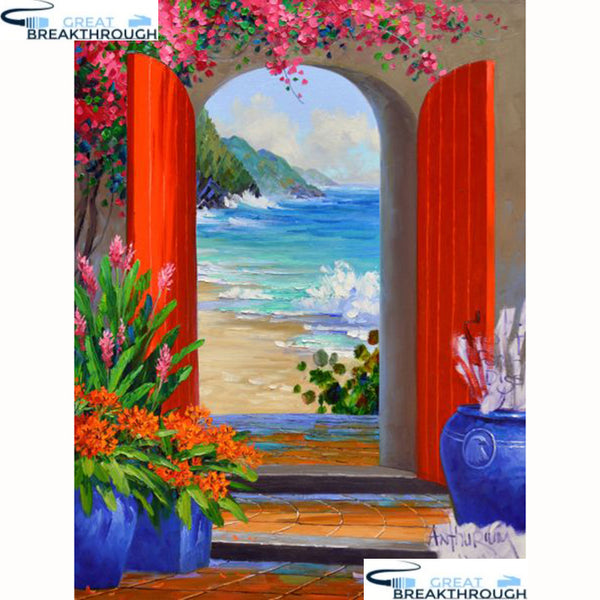 "HOMFUN Full Square/Round Drill 5D DIY Diamond Painting ""Huamen scenery"" Embroidery Cross Stitch 5D Home Decor Gift A18283"