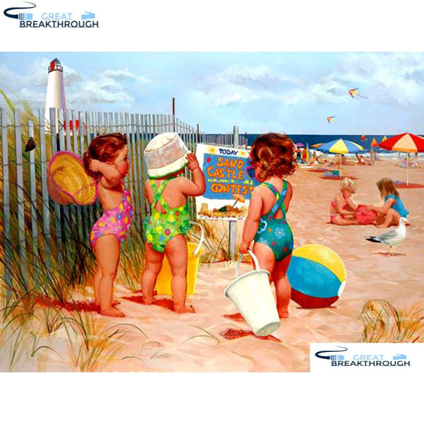 "HOMFUN Full Square/Round Drill 5D DIY Diamond Painting ""Character beach"" 3D Embroidery Cross Stitch 5D Home Decor A13225"