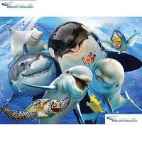 "HOMFUN Full Square/Round Drill 5D DIY Diamond Painting ""Dolphin shark"" 3D Embroidery Cross Stitch 5D Home Decor A13548"