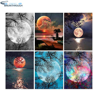 "HOMFUN Full Square/Round Drill 5D DIY Diamond Painting ""Moon scenery"" 3D Diamond Embroidery Cross Stitch Home Decor Gift"