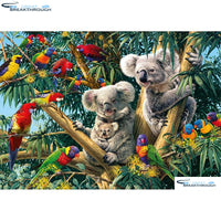 "HOMFUN Full Square/Round Drill 5D DIY Diamond Painting ""Koalas & Parrots"" 3D Embroidery Cross Stitch 5D Home Decor A00717"