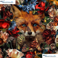 "HOMFUN Full Square/Round Drill 5D DIY Diamond Painting ""Flower fox"" 3D Embroidery Cross Stitch 5D Decor Gift A16492"