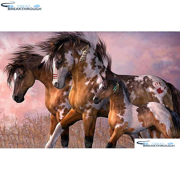 "HOMFUN Full Square/Round Drill 5D DIY Diamond Painting ""Horse family"" Embroidery Cross Stitch 5D Home Decor Gift A01459"