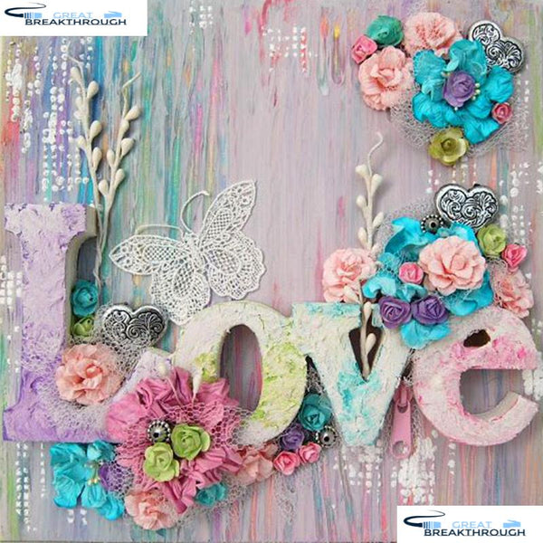 "HOMFUN Full Square/Round Drill 5D DIY Diamond Painting ""Flower letter"" 3D Embroidery Cross Stitch 5D Home Decor Gift A15235"