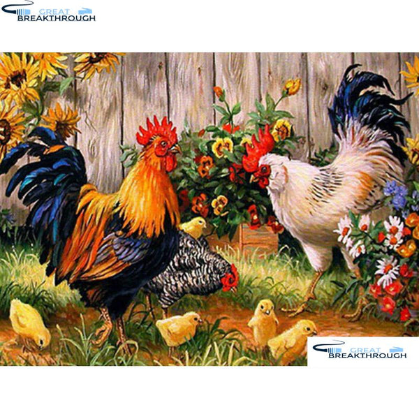 "HOMFUN 5D DIY Diamond Embroidery Full Display ""Animal chicken family"" Diamond Painting Square/Round Rhinestones Decor Art A27210"