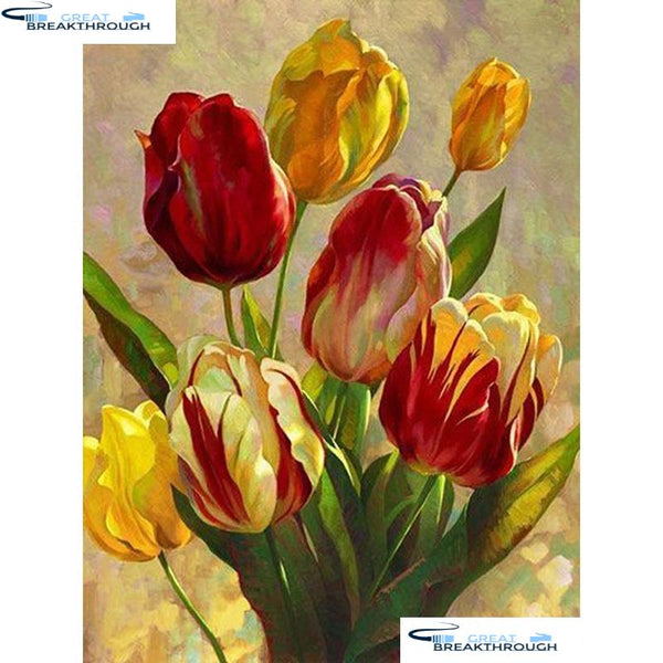 "HOMFUN Full Square/Round Drill 5D DIY Diamond Painting ""Tulip flower""3D Diamond Embroidery Cross Stitch Home Decor A19817"
