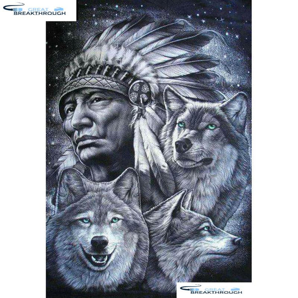 "HOMFUN Full Square/Round Drill 5D DIY Diamond Painting ""Indian wolf"" Embroidery Cross Stitch 5D Home Decor Gift A07043"