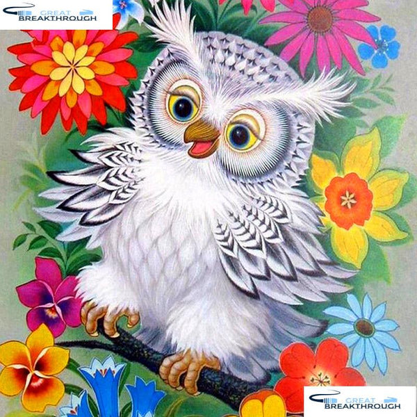 "HOMFUN Full Square/Round Drill 5D DIY Diamond Painting ""Cartoon flower owl"" 3D Embroidery Cross Stitch 5D Decor Gift A16816"