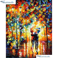 "HOMFUN Diy Full Square Round Drill 5D Diamond Painting Cross Stitch Diamond Embroidery ""Couple umbrella"" Home Decor Gift A01659"
