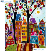 "HOMFUN Full Square/Round Drill 5D DIY Diamond Painting ""Abstract tree houses"" Embroidery Cross Stitch 5D Home Decor A01299"